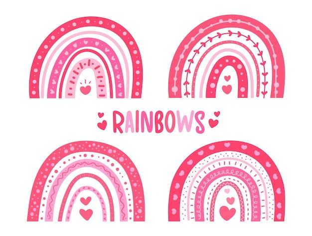 Раскрашенная вручную милая радуга в форме розового сердца