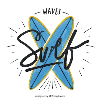 손으로 그린 귀여운 서핑 보드 배경
