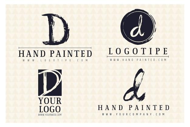 Коллекция логотипов d с ручной росписью