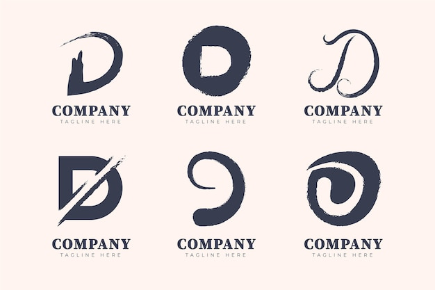 Hand painted d logo template collection