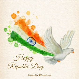 Hand painted dove with a flag of republic day