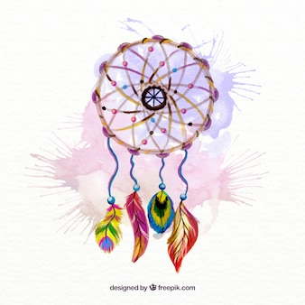 Hand painted dream catcher with watercolor splashes background