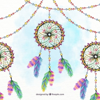 Hand painted dream catchers with garlands background