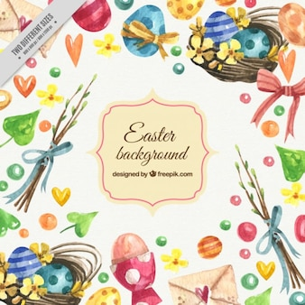 Hand painted easter elements background Free Vector