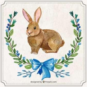 Hand painted easter rabbit with ornaments Premium Vector
