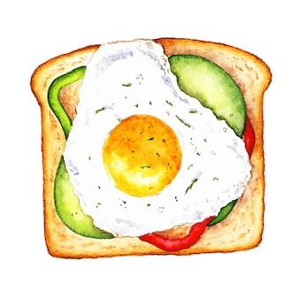 Ручная роспись яичного тоста акварельная иллюстрация