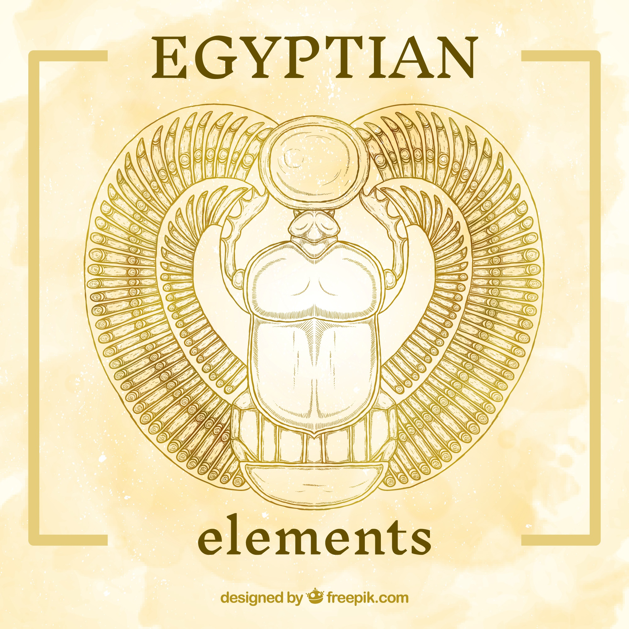 Hand painted egyptian element