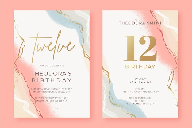 Hand painted elegant birthday invitation templates in two versions