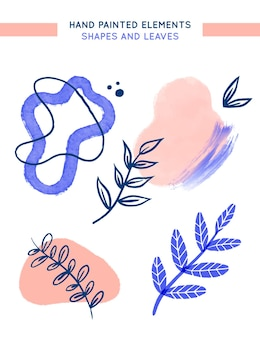 Ручная роспись элементов с листьями и абстрактными формами