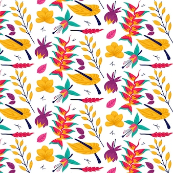 Motivo floreale colorato esotico dipinto a mano