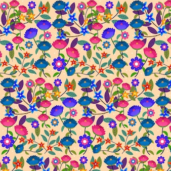 손으로 그린 이국적인 꽃 패턴 배경