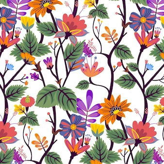 Hand painted exotic floral pattern with leaves