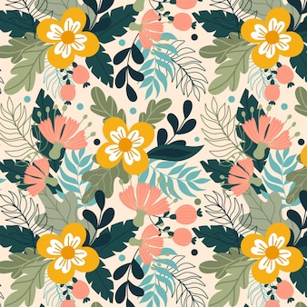 Hand painted exotic floral pattern with yellow flowers