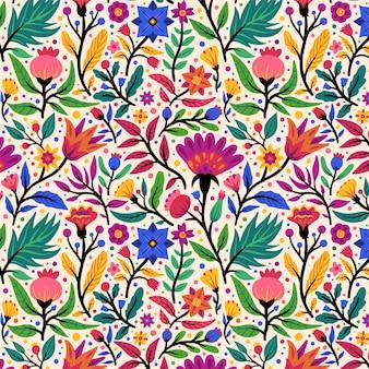손으로 그린 이국적인 꽃 패턴