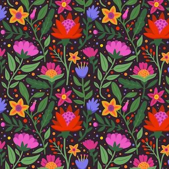手描きのエキゾチックな花柄