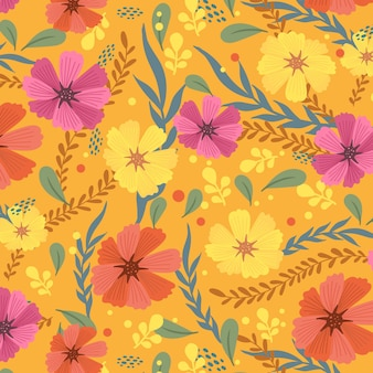 Hand painted exotic floral pattern