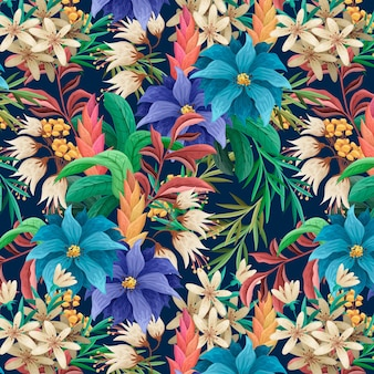 Hand-painted exotic floral pattern