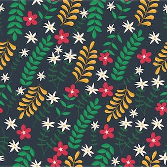 손으로 그린 이국적인 꽃 원활한 패턴