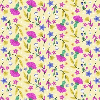 手描きのエキゾチックな花と葉のパターン