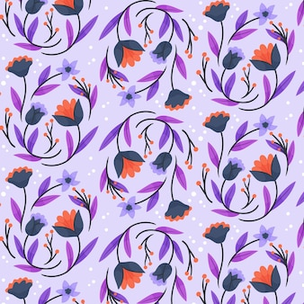 Hand painted exotic flowers and leaves pattern