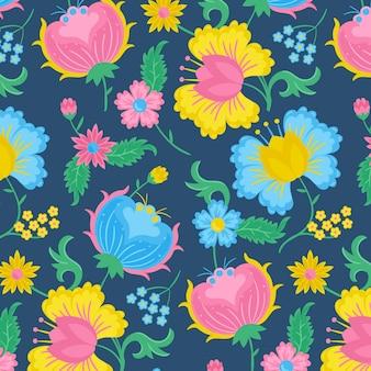 손으로 그린 이국적인 나뭇잎과 꽃 패턴