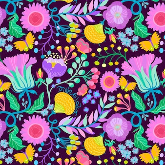 Hand painted exotic seamless floral pattern