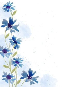 Hand painted floral background in watercolor style
