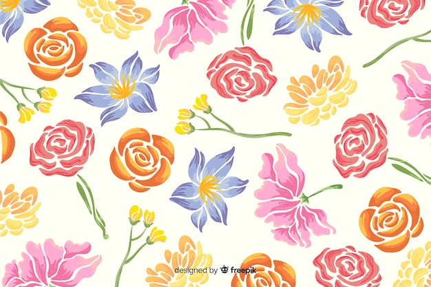 Hand painted floral background on white background