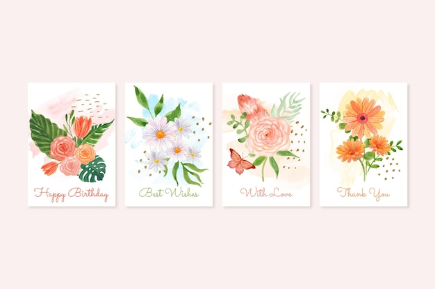 손으로 그린 꽃 카드 컬렉션