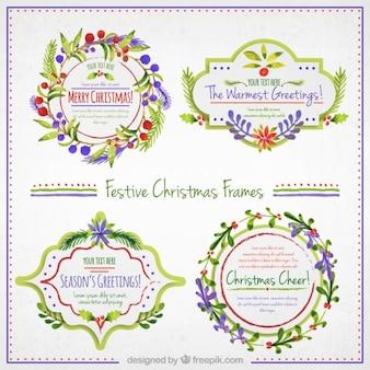 手描き花のクリスマスフレーム
