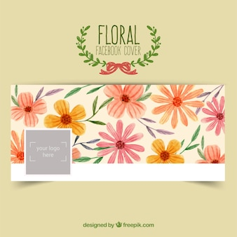 손으로 그린 꽃 페이스 북 커버
