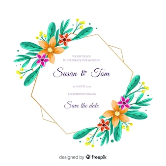Hand painted floral frame wedding invitation