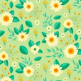 손으로 그린 꽃 패턴