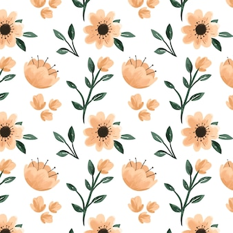 Hand painted floral pattern in peach tones