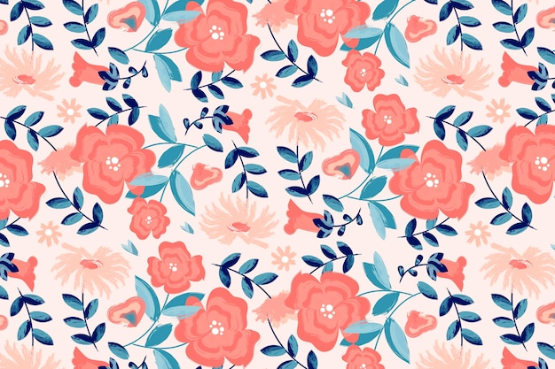 Hand painted floral pattern in peach tones Free Vector