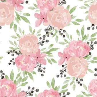 バラの牡丹の花と手描きの花の繰り返しパターンパステルカラーの水彩画スタイル Premiumベクター