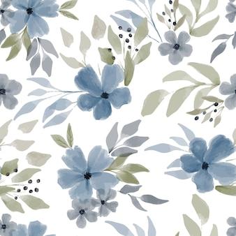 青い花の冬の季節と手描きの花の繰り返しパターン