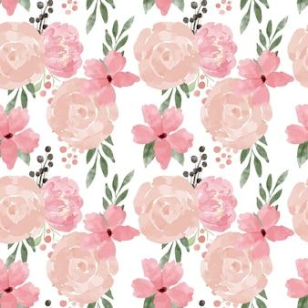 手描きの花のシームレスなパターンパステルブーケ水彩