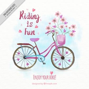 手がフレーズで花のヴィンテージ自転車の背景を描きました