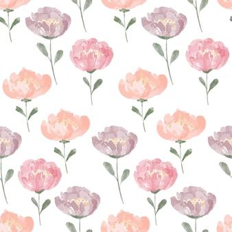 Ручная роспись цветочные акварели повторяют узор с цветущим пионом