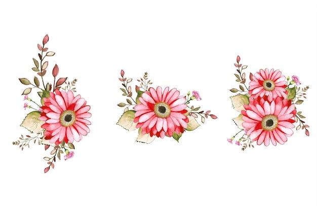 花束の装飾と手描きの花の水彩画
