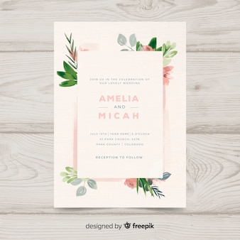 Hand painted floral wedding invitation template