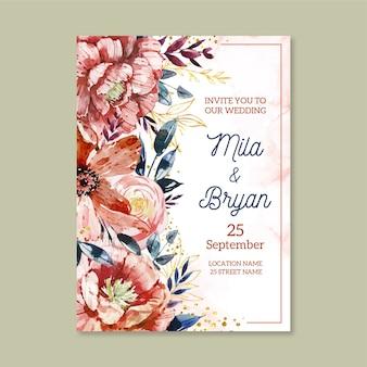 Invito a nozze floreale dipinto a mano