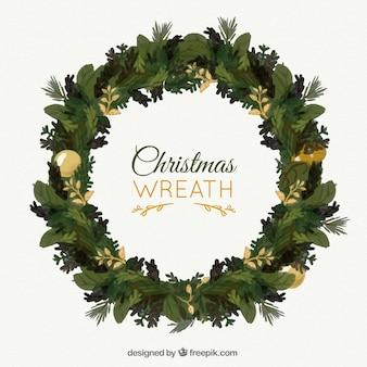황금 세부 사항을 가진 손으로 그린 꽃 화환 크리스마스