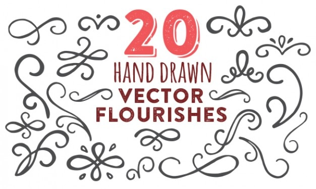 Hand painted flourishes vector pack