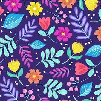 손으로 패브릭 패턴에 꽃을 그린