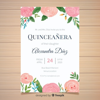 Hand painted flowers quinceanera card template