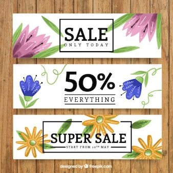 Hand painted flowery sale banners