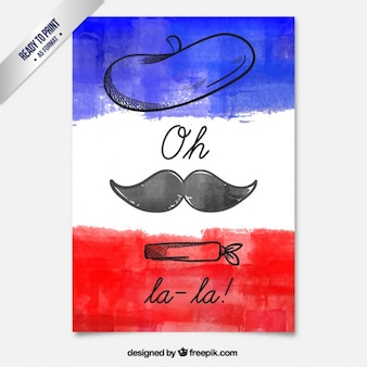 Hand painted french card