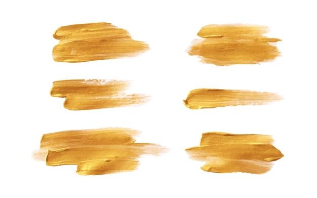Ручная роспись золотой кистью набор мазков